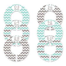 Gray Turquoise #c162 boy chevron Baby Closet Dividers Clothes Organizers 6