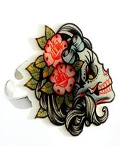 New Punky Pins Lady Skull Tattoo Ring