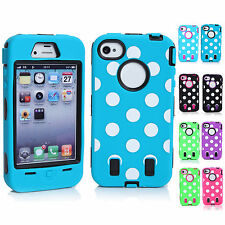 CHEAP Vintage Polka Dot Silicone Hard Back Shell Case Skin For Apple iPhone 4/4S