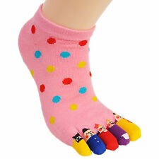 Cute Womens Rich Cotton Low-Cut Ankle Quarter Funny Cat Five Finger 5 Toe Socks