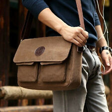 Vintage Men's Brown Vintage Canvas Leather Shoulder Messenger Travel Hiking Bag