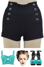 50s Style Sailor PINUP Black HIGH WAISTED Nautical Shorts w/BUTTONS Sizes XS-XL