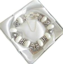 LADIES LUXURY CHARM BRACELET WHITE CLEAR RHINESTONE BIRTHDAY WEDDING  BEAD GIFT