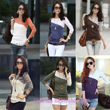 Korean Fashion Women Color block Slim Long Sleeve Crew neck T-shirt Tops Blouse