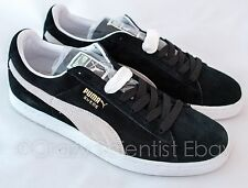 PUMA Suede Classic+ Sneakers Black and White Mens NEW