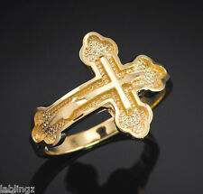 Gold Russian Orthodox Cross Ring (yellow, white, rose gold)