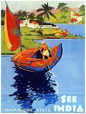 4830.See India.travancore state.man in sail boat.POSTER.decor Home Office art