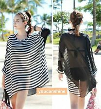Summer Womens Stripe Batwing Loose Beach Bikini Cover Up Maxi Sun Top Long Dress