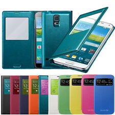 S-VIEW CALLER ID BACK BATTERY LEATHER FLIP CASE COVER FOR SAMSUNG MOBILE PHONES
