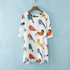 New Women Lady Fashion Painted Bird Printed 3/4 Sleeve Loose Party Dress B4516