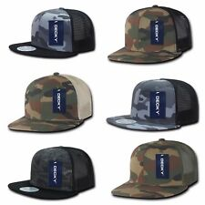 Camouflage Mesh Flat Bill Snapback Trucker Baseball Ball Adjustable Cap Hat