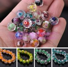 10pc 12mm Faceted Rondelle Flowers Inside Lampwork Crystal Glass Beads Wholesale