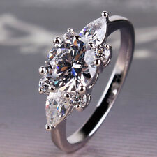 Woman accessories!wedding 18k white gold filled white sapphire ring Sz5-Sz9
