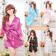 Hot Sexy Women's Satin Lace Robe Sleepwear Lingerie Night Dress G-string Pajamas
