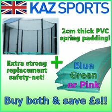 REPLACEMENT TRAMPOLINE SAFETY-NET, SPRING COVER PAD OR NET& PADDING SURROUND SET