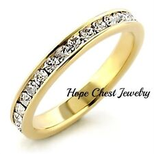 WOMEN'S GOLD TONE 1.25 CT CRYSTAL ANNIVERSARY WEDDING ETERNITY BAND RING SZ 5-10