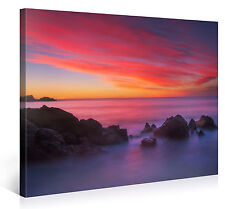 Stretched Canvas Print - ROCKY COLORED SEA Large Beach Scenery Wall Art s4101