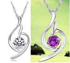 Fashion Women 925 Sterling Silver Heart Pendant Chain Amethyst Necklace Chain G7
