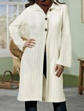 Women's Winter Fall Spring washable Ivory Long Sweater Coat jacket plus XL 1X 2X
