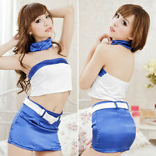 Womens Stewardess Uniform Costume Cosplay Belt Sleepwear Underwear Sexy Lingerie