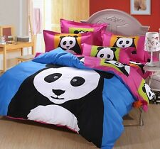 Lovely Cute Panda Cartoon Cotton Comforter Set Bedding Set 4 Sizes Kid's Bedroom