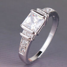 Wedding Lady  18k white  gold filled white sapphire engagement Sz5-Sz9