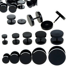 1PCS Black Fake Ear Plug Stud Stretcher Tunnel Earring Piercing Stainless Steel