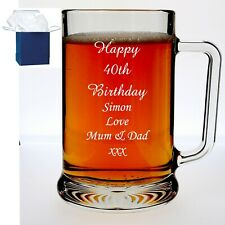 Personalised Pint Glass Tankard 40th,50th 60th,70th,75th Birthday Free Gift Box