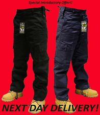 "Mens Cargo Combat Work Trousers Black & Navy Blue 30""W - 50""W 30""L, 32""L"