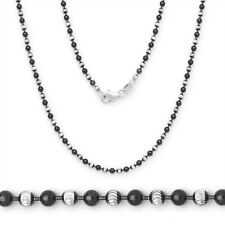 2.5mm 925 Sterling Silver 14k Black Gold Ball Bead Link Chain Necklace Solid