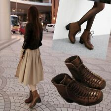 Women Lether Lace Up Low Heel Punk Motorcycle Ankle Boots Fashion Shoes Zipper