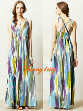 NEW XS M Anthropologie Brushstrokes Maxi Dress By James Coviello Effortless Chic