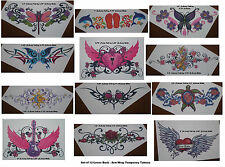 Lower Back Arm Wrap Removeable Tattoos Guitar Heart Roses Dragonfly Butterfly