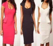 Fashion Woman's Peplum Cap Sleeve Elegant Casual Career Pencil Dress Size S-XL