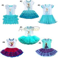 Frozen Princess Queen Elsa Anna Girls Kids Tutu Cake Dresses Party Skirt Costume