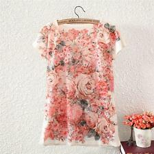 Vintage Summer Womens Short Sleeve Floral Bomber Printed T Shirt Blouse Tee Tops