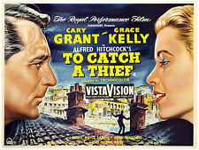 PLAQUE ALU REPRODUISANT UNE AFFICHE TO CATCH A THIEF CARY GRANT GRACE KELLY