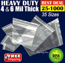 Clear Ziplock Bags 4 Mil Heavyduty Reclosable 25 50 100 200 300 Strong Thick