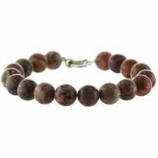 "925 Sterling Silver Lock Clasp Bracelet / Natural 10mm Leopard Jasper 8"" Long"