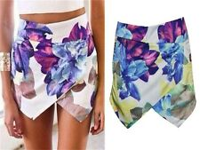 Womens Summer Fashion Lotus Flower Asymmetric Tiered Hot Shorts Skorts Skirts-LJ