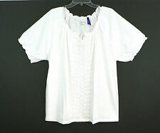 Liz & Me for Catherines~NEW~Crochet Peasant Top~Cool White~1X 2X 3X 4X 5X Petite