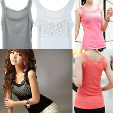 Womens Rhinestone Beaded Lace Stunning Vest Sexy Tank Top T-shirt Blouse 5 Color