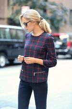 NWT_ZARA CHECKED TOP WITH ZIPS_SIZE XS,L