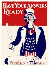 6101.Census.Uncle sam with book.have your answers ready.POSTER.Home Office art