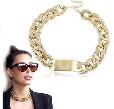 Gold Chunky Statement Chain Necklace Choker Celebrity Chic Runway KIM