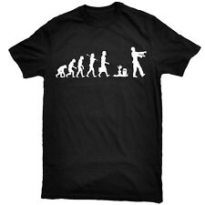 ZOMBIE Evolution Living Walking Dead Caveman Grave T-Shirt + Free Sticker Pack!