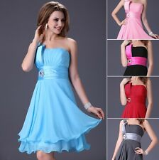 ~CHEAP SALABLE~ One Shoulder Sexy Evening Bridesmaid Cacktail Party Mini Dress