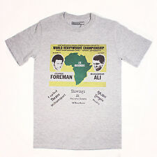 MUHAMMAD ALI vs GEORGE FOREMAN AFRICA  T-Shirt - GREY - boxing Cassius Clay