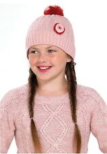 OCTAVE® Girls Pink Knitted Pom Pom Bobble Hat With Pretty Round Flower Detail