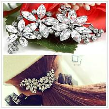 Lady/Girl Shiny Full Crystal Flower Petal Barrette Rhinestone Hair Clip Hair Pin